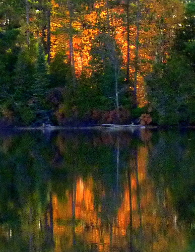 red lake reflection tree colors pine sunrise bass michigan upper outline northern peninsula maples gwinn