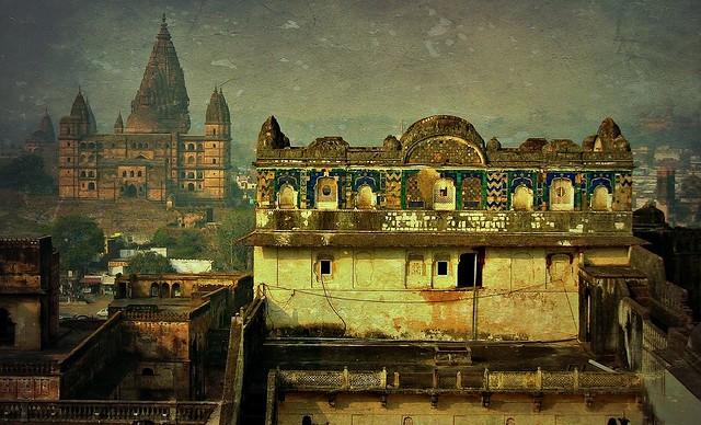 INDIEN, historisches Orchha,  Raja Mahal-Fort und Jahangir Mahal- Palast, 14109/6978