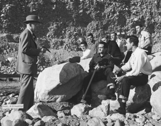 Hulbert Burroughs photo of Geology Prof. A.O. Woodford on a field trip with students in 1950. Woodford founded the Geology department in 1922 and taught at Pomona until his retirement in 1955. (use in 1950 and 1922)
