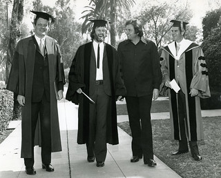 Alumnus singer/songwriter/actor Kris Kristofferson '58 after receiving an honorary doctorate from Pomona in 1973. From left: President David Alexander; Kristofferson; his friend, singer Johnny Cash; and Professor Fred Sontag