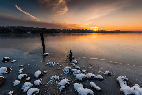 Winter Sunset at Pennington Flash #5, Greater Manchester, North West England   by Anthony Lawlor
