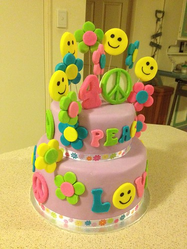 Peace & Hippie Themed Birthday Cake | by PortersPartyCakes