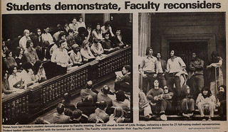 "TSL photos of 1974 student demonstration concerning a faculty decision on ""Pass/No Credit"""