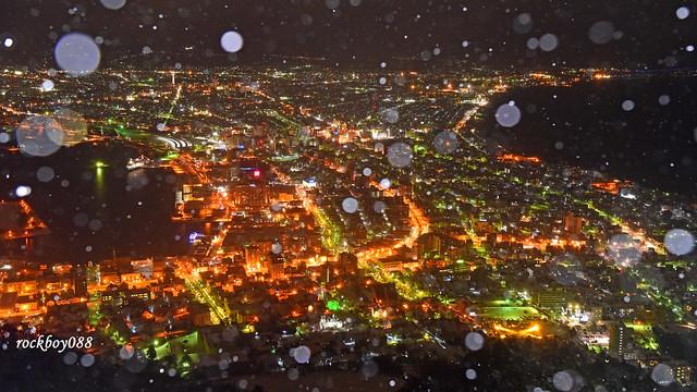 下雪的函館百萬夜景