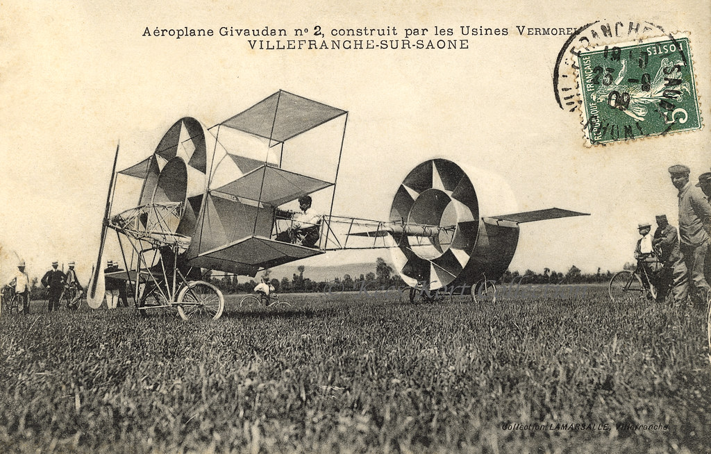 The second version of the circular aeroplane of Claude Givaudan, this time with wings added [France, 1909]