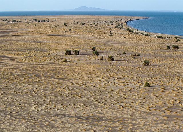 Aerial-shot-of-the-flat-barren-land-adjacent-to-the-central-western-shore-of-Lake-Turkana-Kenya2