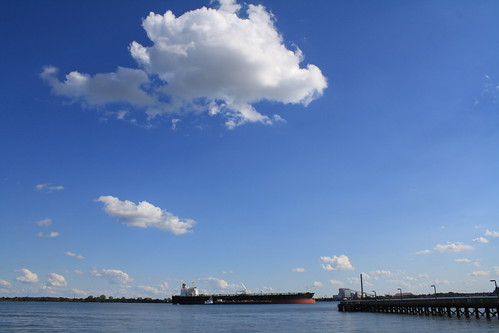 blue sky water clouds docks newjersey day ship afternoon pennsylvania sunny front clear tanker municipalpark delawareriver partlycloudy marcushook