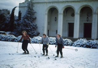 Students ski on Marston Quad after a rare snowstorm in 1949