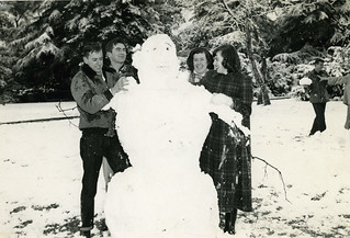 A snowman on the Quad in 1949