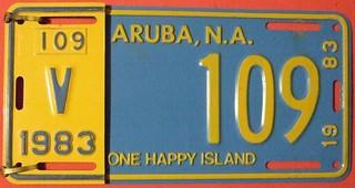 ARUBA 1983 ---LICENSE PLATE WITH TAB