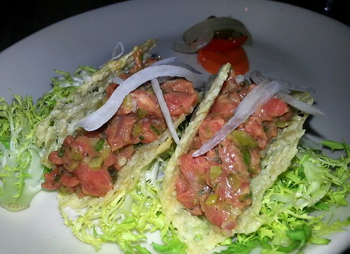 Steak Tartar Tacos at Mess Hall | by e*starLA