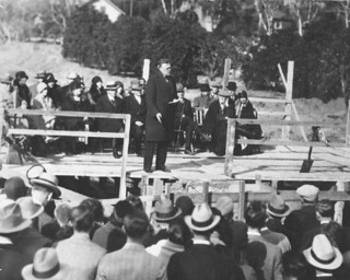 President Charles Edmunds, speaking during the 1930s at what appears to be the groundbreaking for a new building, probably Blaidell Hall, completed in 1936