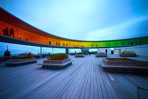 arosaarhusartmuseum aros aarhus art museum danimarca denmark arcobaleno museo panorama grandangolo wideangle landscape roof tetto rainbow sony sony1018mm sel1018 sonya7m2