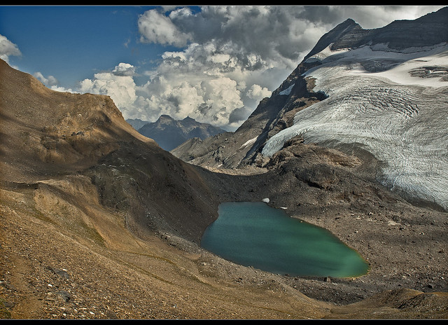Monte Leone (3557m ) and the Chaltwassersee (2756 m )Switzerland / Italy . No. 69833.