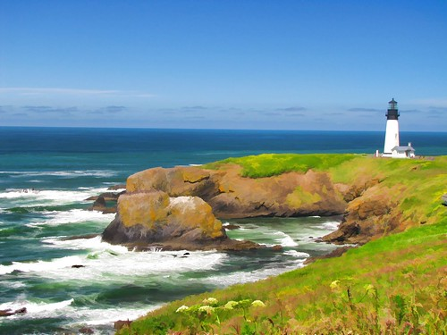 lighthouse oregon painted digitalpainting newport yaquinaheadlighthouse blm yaquinaheadoutstandingnaturalarea atps2012
