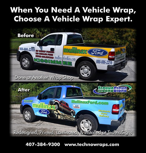 F150 truck wrap before and after - by TechnoSigns Orlando