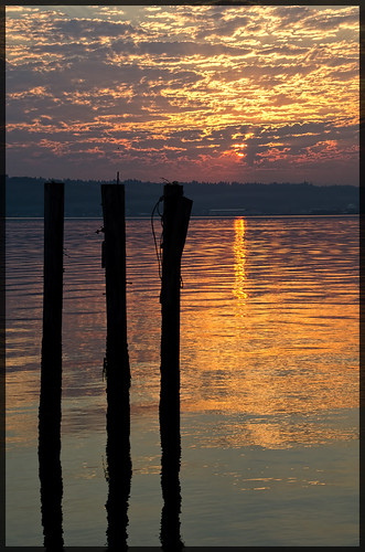 morning home water sunrise reflections golden three nikon waterfront silhouettes pacificnorthwest pugetsound tacoma pilings tones pnw ttown rustonway uniqueclouds thethreeamigostacoma
