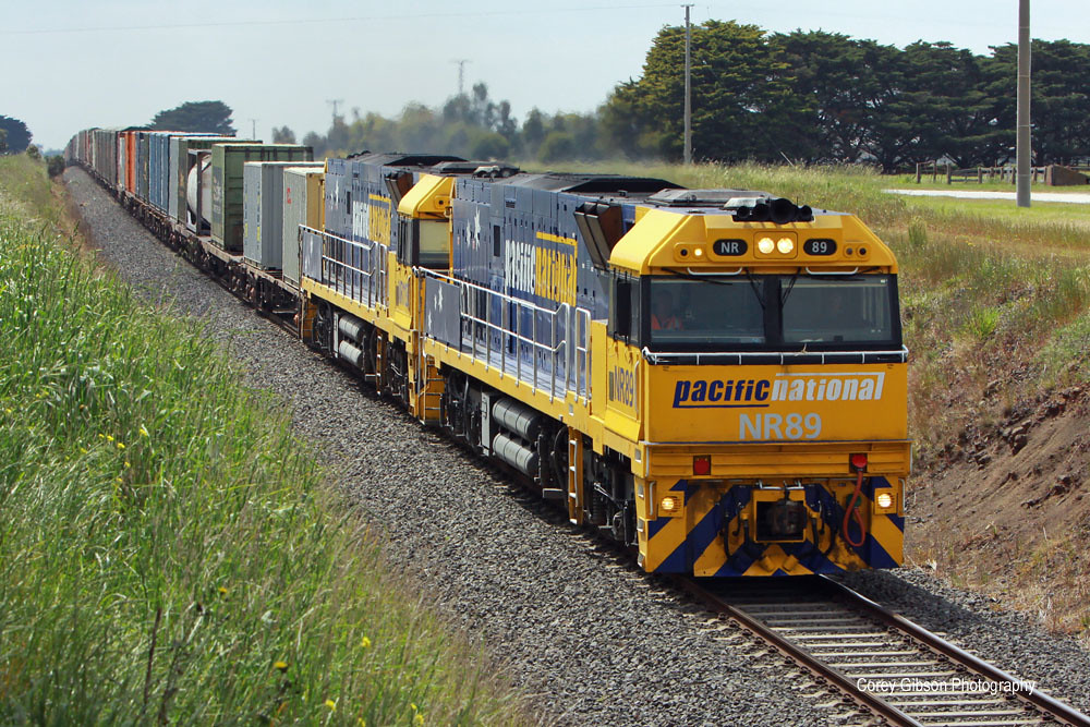 NR89 & NR113 haul the Brisbane to Adelaide freighter through Inverleigh by Corey Gibson