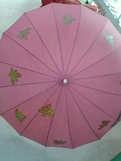 Paraguas rosa con hojas pintadas a mano.