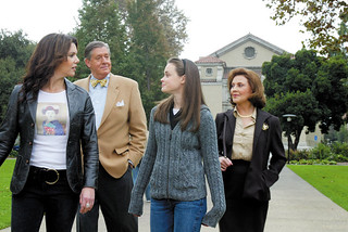 Four members of the cast of The Gilmore Girls stroll across Marston Quad during filming in 2002.