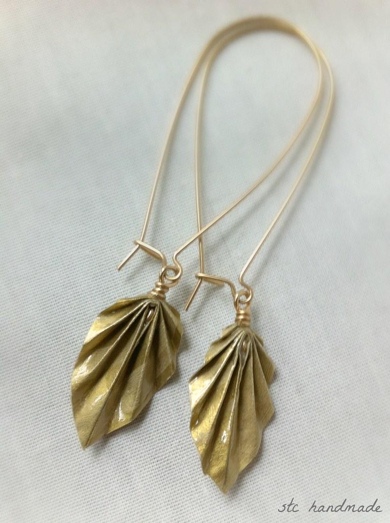 Nannatee Way Jewelry Making: Origami Leaf Earrings   1023x764