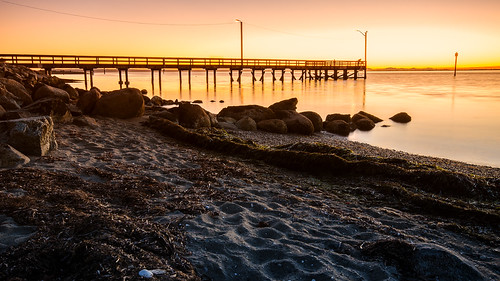 crescentbeach sunset whiterock britishcolumbia canada beach landscape pier seascape seaside shore dusk lowermainland surrey pacificnorthwest tourism blackiespit september orange silhouette coast water sand seaweed nikon d7000 dslr boundarybay seashells seagulls