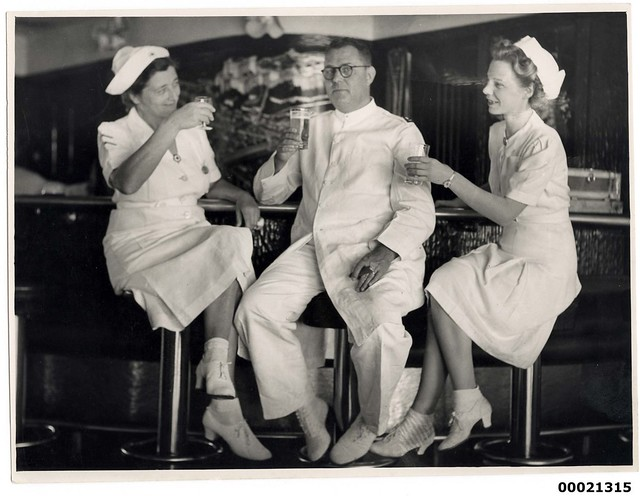 Unidentified medical personnel on board hospital ship TSS ORANJE II, June 1941