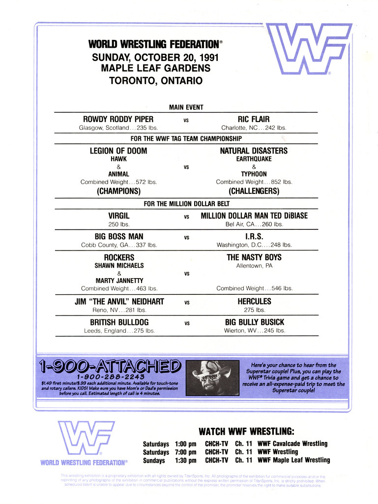1991-10-20 - maple leaf gardens wrestling program-wwf line