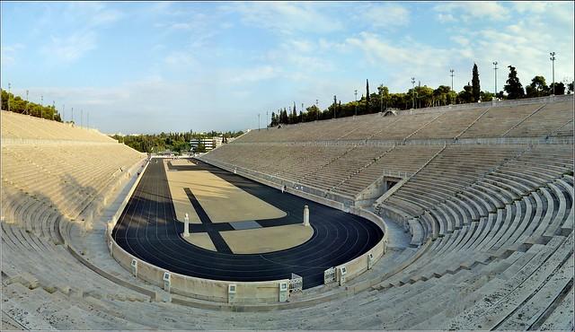 Original Modern Olympic Stadium in Athens. Panorama. Nikon D3100. DSC_0335.