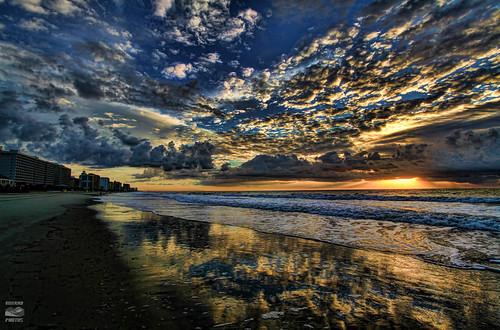 ocean autumn sun reflection beach sc clouds sunrise dawn view south carolina myrtle rise hdr topaz surfside springmaid
