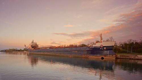 sunset boat ship greatlakes laker freighter wellandcanal selfunloading sonynex5n voigtlander15mmf45ltmrangefinder vacation2012easternlakes