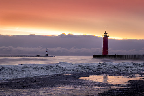 winter lighthouse lake ice wisconsin sunrise frozen michigan kenosha