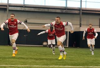 Thomas Vermaelen, Lukas Podolski, Bacary Sagna and Per Mertesacker
