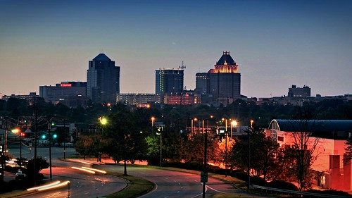 street sunset skyline night buildings downtown horizon north greensboro clear carolina avenue wendover battleground