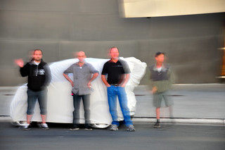 Film crew hiding their weird little car.