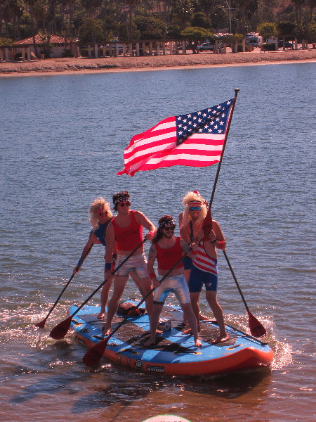 Four Guys Arrive On Huge Stand Up Paddleboard - 2012 Paddle for Privates Charity SUP Event - Newport Beach, CA