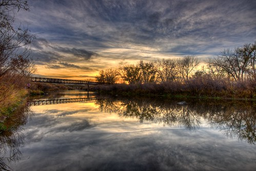 bridge trees sunset sky reflection water clouds river landscape colorado footbridge denver platte hdr facebook littleton d800 southplatteriver bridgepix 201211
