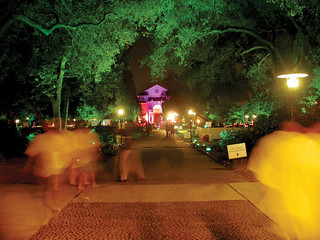The campus was lit for a party during the inaugural celebration for President David Oxtoby in 2003.