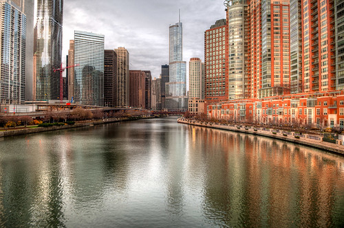 city morning urban chicago reflection art water architecture photoshop sunrise buildings river dawn nikon midwest colorful downtown day cloudy searstower il explore trumptower chicagoriver hdr vividcolors chicagoil windycity d90 cloudymorning explored nikond90 bryanjaronik
