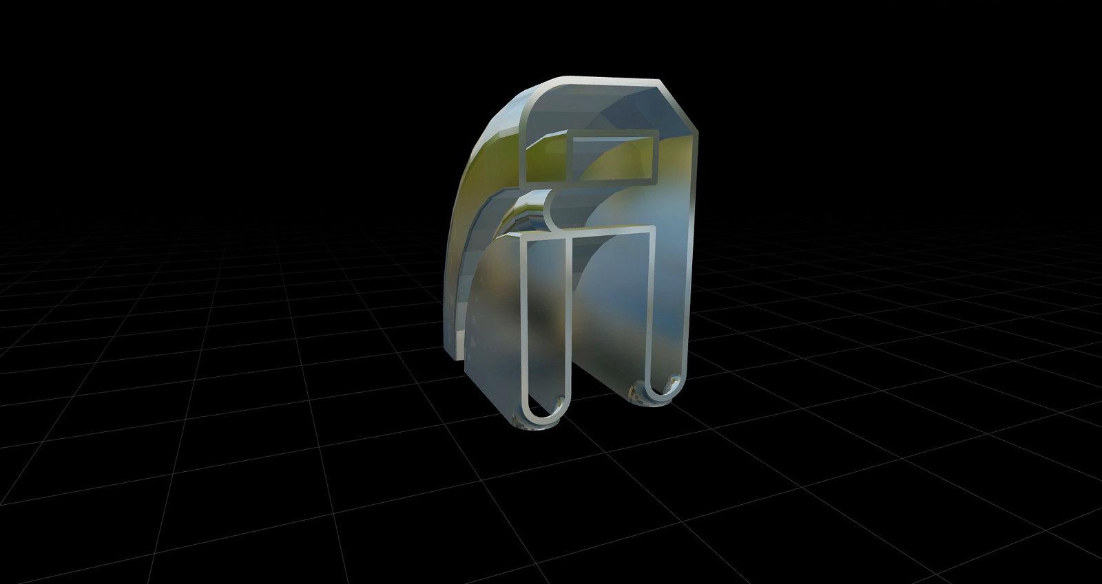 Caracteres tipográficos 3D letra A