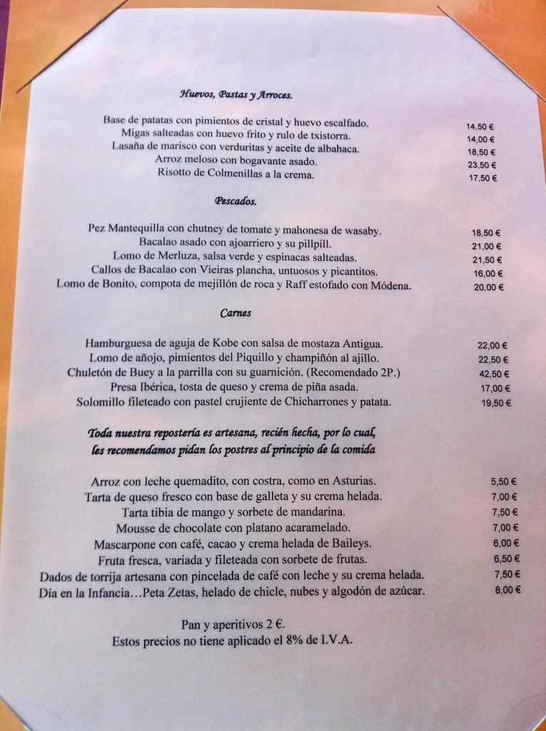 Restaurante El Cielo De Urrechu Pozuelo Carta De Platos