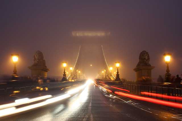 Budapest - the Chain bridge covered in fog at new year's eve 12
