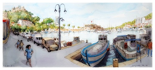 googleearthstreetview croquis sketch aquarelle watercolour watercolor cassis provence france port harbour bateaux ships boats