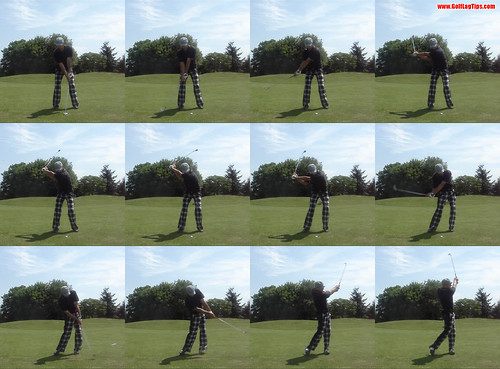 Divot Location demonstrated with a Hitting stroke - Swing Sequence | by www.GolfLagTips.com