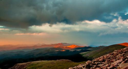 light orange clouds landscape colorado sunsets layers rockymountains mtevans coloradomountains
