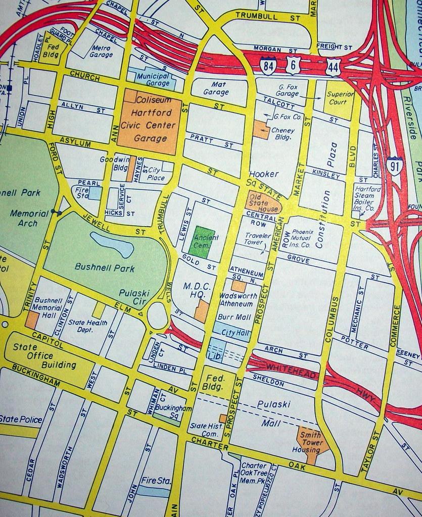Downtown Hartford CT 1987 | Map by Hagstrom Maps. Hagstrom\'s ...