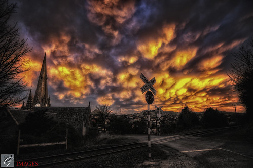 mammatus clouds port chalmers dunedin otago nz foreground crazy strange overhead impressive dgimages railway chruch sunset sun rise bulky blotchy round