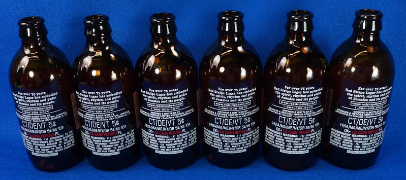 RD14201 6 Red Stripe 12 oz Brown Stubby Beer Bottles in Original 6 Pack Carton DSC05352
