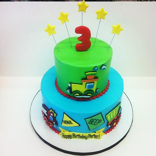 Transportation birthday cake #austin #customcake #birthday #polkadotscupcakefactory   by Polkadots (Olga)