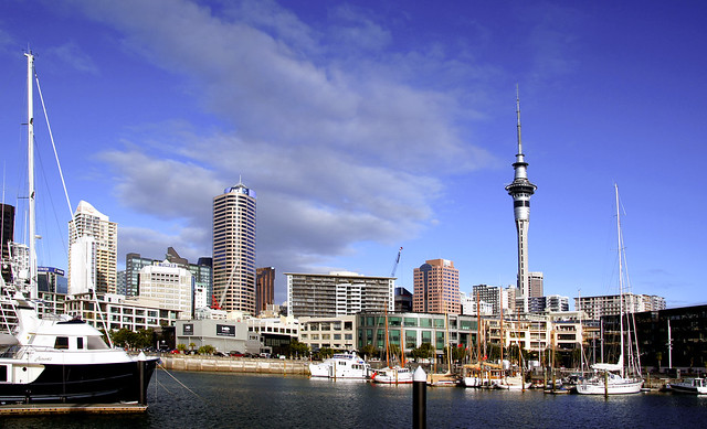 City skyline with Skytower